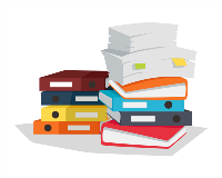 Pile or books and files illustration