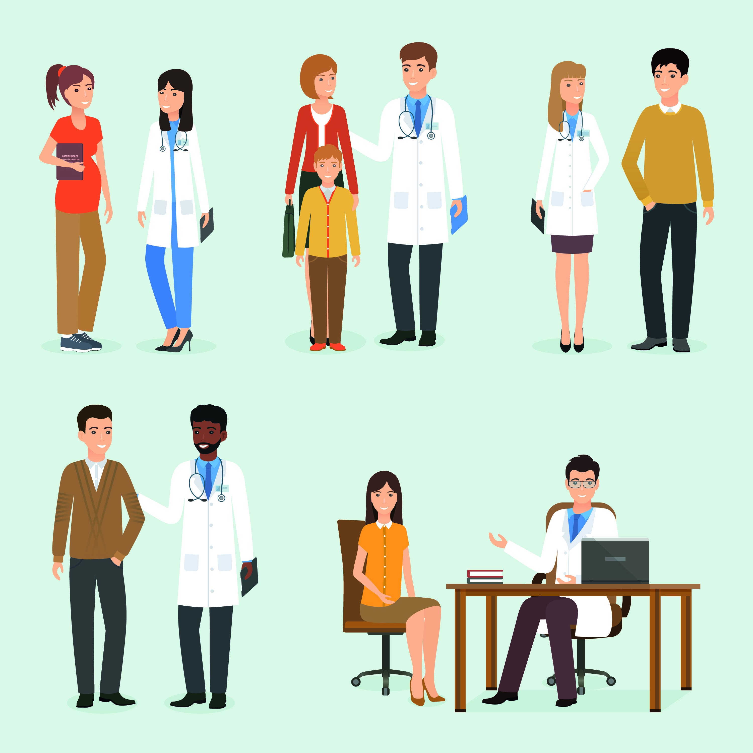 Healthcare professionals with patients